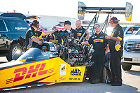 Oct 18, 2019; Ennis, TX, USA; Crew members for NHRA top fuel driver Richie Crampton during qualifying for the Fall Nationals at the Texas Motorplex. Mandatory Credit: Mark J. Rebilas-USA TODAY Sports