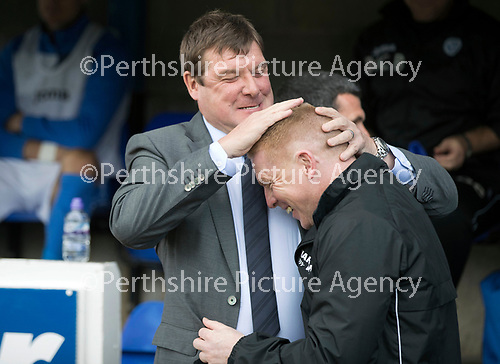 St Johnstone v Hibs &hellip;09.09.17&hellip; McDiarmid Park&hellip; SPFL<br />Tommy Wright embraces his friend and todays opposistion manager Neil Lennon and slaps on the head presumably regarding the leotard story<br />Picture by Graeme Hart.<br />Copyright Perthshire Picture Agency<br />Tel: 01738 623350  Mobile: 07990 594431