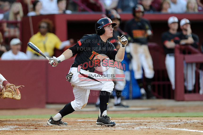 Center fielder Charlie White (4) of the Maryland Terrapins in an NCAA Division I Baseball Regional Tournament game against the South Carolina Gamecocks on Sunday, June 1, 2014, at Carolina Stadium in Columbia, South Carolina. Maryland won, 10-1, to win the tournament. (Tom Priddy/Four Seam Images)