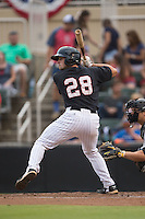 Ryan Plourde (28) of the Kannapolis Intimidators at bat against the West Virginia Power at Intimidators Stadium on July 3, 2015 in Kannapolis, North Carolina.  The Intimidators defeated the Power 3-0 in a game called in the bottom of the 7th inning due to rain.  (Brian Westerholt/Four Seam Images)