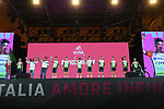 Bardiani-CSF on stage at the Teams Presentation held in Piazza Maggiore Bologna before the start of the 2019 Giro d'Italia, Bologna, Italy. 9th May 2019.<br /> Picture: Fabio Ferrari/LaPresse | Cyclefile<br /> <br /> All photos usage must carry mandatory copyright credit (&copy; Cyclefile | Fabio Ferrari/LaPresse)