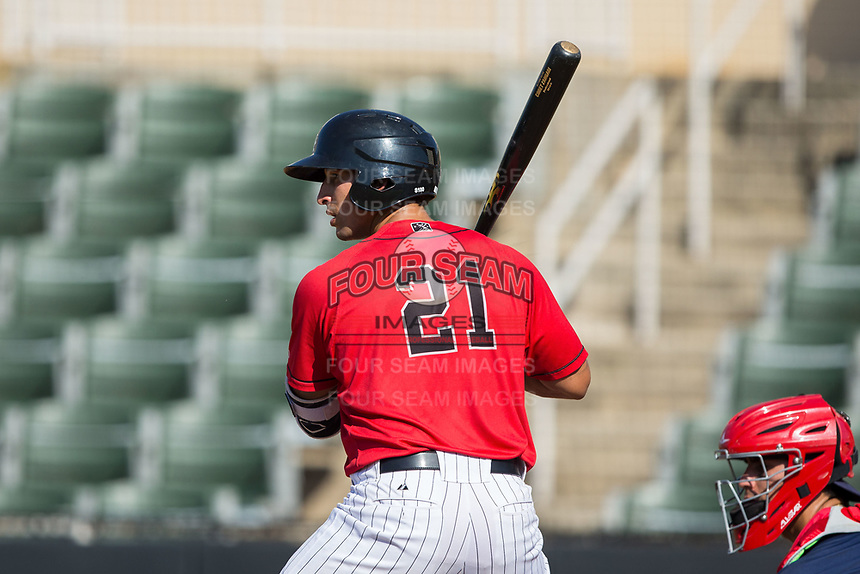 Seby Zavala (21) of the Kannapolis Intimidators at bat against the Hagerstown Suns at Kannapolis Intimidators Stadium on June 14, 2017 in Kannapolis, North Carolina.  The Intimidators defeated the Suns 4-1 in game one of a double-header.  (Brian Westerholt/Four Seam Images)
