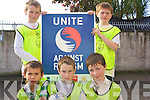 Fourth Class pupils at Holy Family National School who took part in a specially organised football blitz as part of the Football against Racism Europe (FARE) initiative.Back L-R Mark Donovan and Shane Walsh .Front L-R Mareks Fisers, Jack Lynch and Jack O'Brien