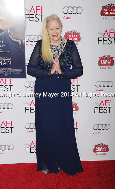 HOLLYWOOD, CA - NOVEMBER 11: Actress Sally Kirkland attends the 'The Homesman' premiere during AFI FEST 2014 presented by Audi at the Dolby Theater on November 11, 2014 in Hollywood, California.
