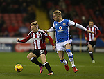 Mark Duffy of Sheffield Utd and Jason McCarthy of Walsall during the English League One match at Bramall Lane Stadium, Sheffield. Picture date: November 29th, 2016. Pic Simon Bellis/Sportimage