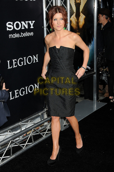 "KATE WALSH.""Legion"" Los Angeles Premiere held at Arclight Cinemas Cinerama Dome,  Hollywood, California, USA, .21st January 2010..full length black dress strapless shoes heels hands in pockets patterned pattern platform walking .CAP/ADM/BP.©Byron Purvis/AdMedia/Capital Pictures."