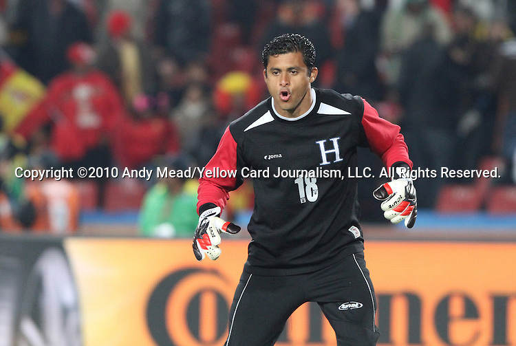 21 JUN 2010: Noel Valladares (HON). The Spain National Team defeated the Honduras National Team 2-0 at Ellis Park Stadium in Johannesburg, South Africa in a 2010 FIFA World Cup Group H match.