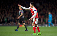 Alexis Sanchez of Arsenal shows his frustration during the UEFA Champions League round of 16 match between Arsenal and Bayern Munich at the Emirates Stadium, London, England on 7 March 2017. Photo by Alan  Stanford / PRiME Media Images.