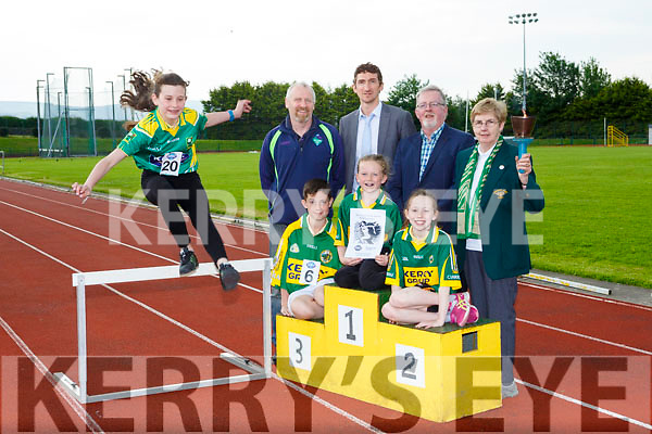 Muireann McBride Castleisland gets in some practice at the launch of the 2017 Kerry Community Games in Castleisland on Friday front row l-r: Christopher Devane Castleisland, Sarah Scanlon Currow/Currans and Rachel Barry Rock St/Caherslee, back row: Sean O'Sullivan Chairman, Padrag Mallon Kerry Group Communications manager, Owen Stack Development officer and Margaret Culloty County Secretary