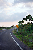BELIZE, Punta Gorda, Toledo, a road sign showing a horse and carriage near the Li Punit Ruins