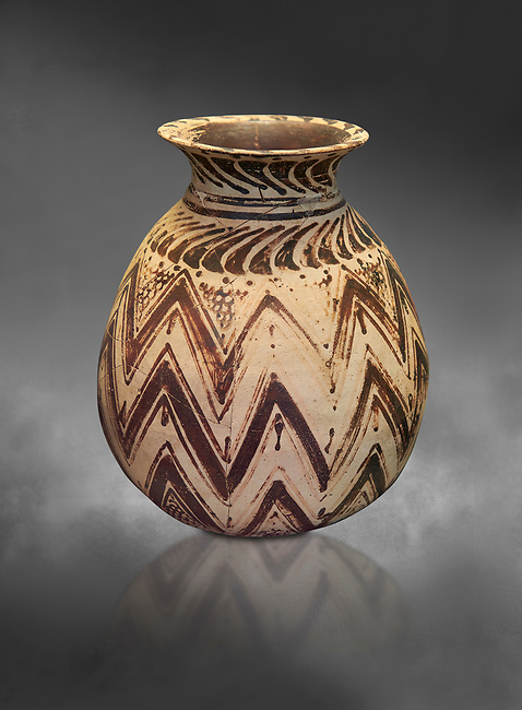 Mycenaean clay alabastron decorated with seaweed motifs, Tholos tomb 2 , Myrsinochori, Messenia, 15th cent BC. National Archaeological Museum Athens. Cat No 8374.