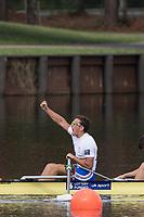 Sarasota. Florida USA.  GBR PR 3 4+ stroke James FOX celebrates victory and the Gold Medal.  Final A. 2017 World Rowing Championships, Nathan Benderson Park<br /> <br /> Saturday  30.09.17   <br /> <br /> [Mandatory Credit. Peter SPURRIER/Intersport Images].<br /> <br /> <br /> NIKON CORPORATION -  NIKON D500  lens  VR 500mm f/4G IF-ED mm. 250 ISO 1/1000/sec. f 5