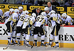 3 February 2009: Pittsburgh Penguins' center Sidney Crosby and teammates discuss a strategy during a time out in the third period against the Montreal Canadiens at the Bell Centre in Montreal, Quebec, Canada. The Canadiens defeated the Penguins 4-2. ***** Editorial Sales Only ***** Mandatory Photo Credit: Ed Wolfstein Photo