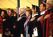 First lady Barbara Bush and Raisa Gorbachev, wife of President Mikhail Gorbachev of the Soviet Union attend the graduation ceremony at Wellesley College in Wellesley, Massachusetts on June 1, 1990. <br /> Credit: Rob Crandall / Pool via CNP