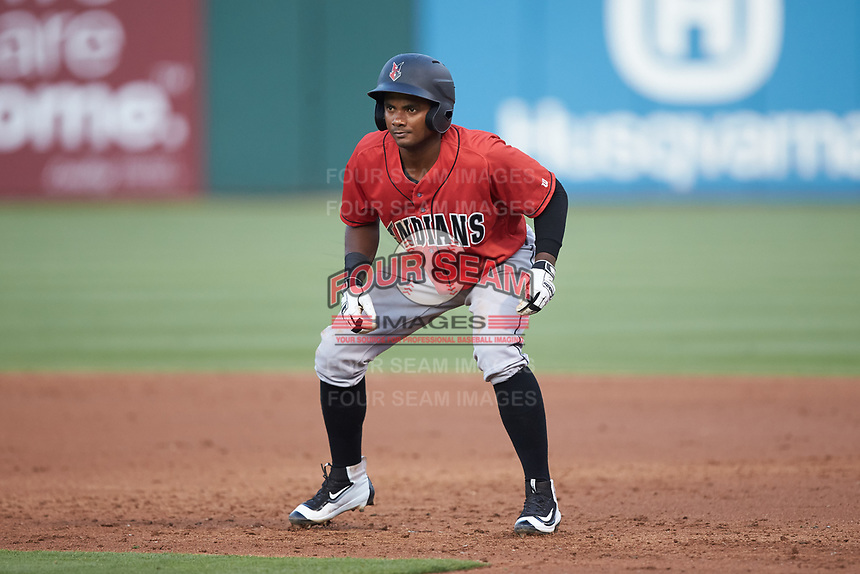 Pablo Reyes (12) of the Indianapolis Indians takes his lead off of first base against the Charlotte Knights at BB&T BallPark on May 26, 2018 in Charlotte, North Carolina. The Indians defeated the Knights 6-2.  (Brian Westerholt/Four Seam Images)