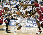 March 1, 2012: Nevada Wolf Pack forward Dario Hunt drives thru the New Mexico State Aggies defence during their NCAA basketball game played at Lawlor Events Center on Thursday night in Reno, Nevada.