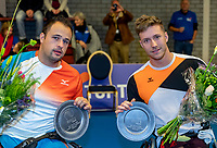 Alphen aan den Rijn, Netherlands, December 16, 2018, Tennispark Nieuwe Sloot, Ned. Loterij NK Tennis, Wheelchair doubles final, runners up: Rody de De Bie (NED) and Tom Egberink (NED) (L)<br /> Photo: Tennisimages/Henk Koster