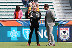 02 April 2016: Minnesota head coach Carl Craig (ENG) (left) with Carolina broadcaster Sam Stockley (ENG) (right). The Carolina RailHawks hosted Minnesota United FC at WakeMed Stadium in Cary, North Carolina in a 2016 North American Soccer League Spring Season game. Carolina won the game 2-1.