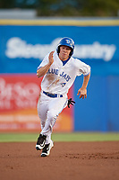 Dunedin Blue Jays right fielder Andrew Guillotte (1) running the bases during a game against the St. Lucie Mets on April 19, 2017 at Florida Auto Exchange Stadium in Dunedin, Florida.  Dunedin defeated St. Lucie 9-1.  (Mike Janes/Four Seam Images)