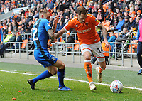 Blackpool's Harry Pritchard under pressure from Gillingham's Barry Fuller<br /> <br /> Photographer Kevin Barnes/CameraSport<br /> <br /> The EFL Sky Bet League One - Blackpool v Gillingham - Saturday 4th May 2019 - Bloomfield Road - Blackpool<br /> <br /> World Copyright © 2019 CameraSport. All rights reserved. 43 Linden Ave. Countesthorpe. Leicester. England. LE8 5PG - Tel: +44 (0) 116 277 4147 - admin@camerasport.com - www.camerasport.com