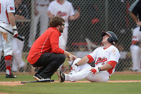 Illinois State Redbirds Joe Kelch (3) gets looked at by the trainer after getting hit by a pitch during a game against the Bucknell Bison on March 8, 2015 at North Charlotte Regional Park in Port Charlotte, Florida.  Bucknell defeated Illinois State 13-8.  (Mike Janes Photography)