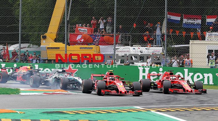 02.09.2018, Autodromo di Monza, Monza, FORMULA 1 GRAN PREMIO HEINEKEN D'ITALIA 2018<br />,im Bild<br />Rennstart:<br />Kimi Raikkonen (FIN#7), Scuderia Ferrari, Sebastian Vettel (GER#5), Scuderia Ferrari, Lewis Hamilton (GB#44), Mercedes AMG Petronas Formula One Team, Valtteri Bottas (FIN#77), Mercedes AMG Petronas Formula One Team, Max Verstappen (NEL#33), Aston Martin Red Bull Racing, Daniel Ricciardo (AUS#3), Aston Martin Red Bull Racing<br /> <br /> Foto © nordphoto / Bratic