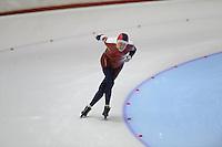SCHAATSEN: HEERENVEEN: Thialf, 4th Masters International Speed Skating Sprint Games, 25-02-2012, Martin Haakon Fagna (M80) 1st, ©foto: Martin de Jong