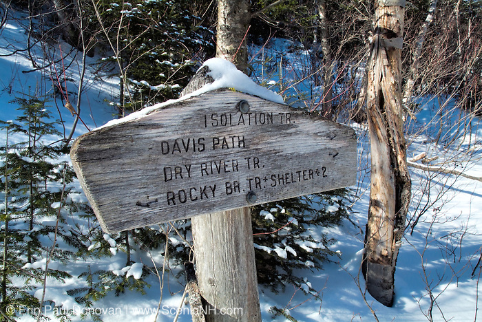 Isolation Trail sign in the White Mountain National Forest of New Hampshire USA.