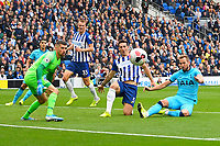 Harry Kane of Tottenham Hotspur right just fails to connect  with the ball under pressure from Lewis Dunk of Brighton and Hove Albionduring Brighton & Hove Albion vs Tottenham Hotspur, Premier League Football at the American Express Community Stadium on 5th October 2019