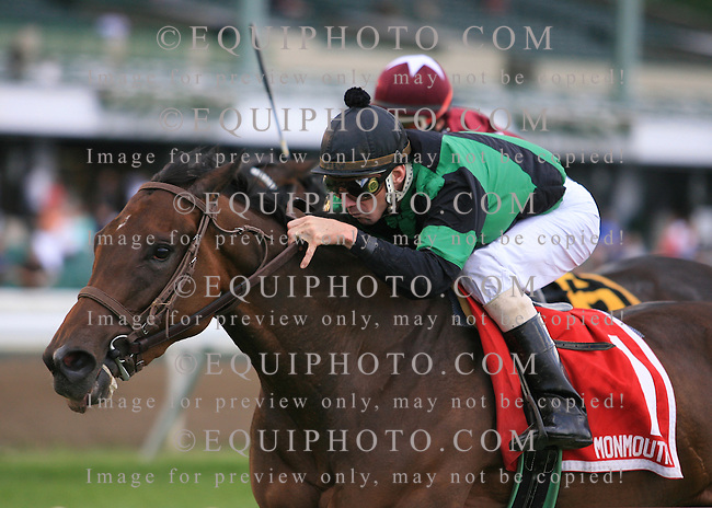 Mary's Follies #1 with Stewart Elliott riding won the $150,000 Grade III Boiling Springs Stakes at Monmouth Park in Oceanport, N.J.  Photo By Bill Denver/EQUI-PHOTO