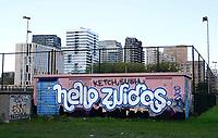 Nederland Amsterdam 2018 . Hello Zuidas. Graffity op de Zuidas. Foto Berlinda van Dam / Hollandse Hoogte