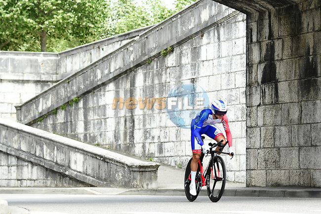 Rudy Molard (FRA) Groupama-FDJ in action during the opening Prologue of the 2018 Criterium du Dauphine running 6.6km around Valence, France. 3rd June 2018.<br /> Picture: ASO/Alex Broadway | Cyclefile<br /> <br /> <br /> All photos usage must carry mandatory copyright credit (© Cyclefile | ASO/Alex Broadway)