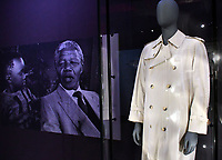 Nelson Mandela's trench coat, at Nelson Mandela The Official Exhibition celebrating the life and legacy of Nelson Mandela, the anti-apartheid revolutionary and former President of South Africa, showcasing personal belongings and objects.  Nelson Mandela The Official Exhibition press view, London, UK - 7 February 2019.<br /> CAP/JOR<br /> &copy;JOR/Capital Pictures