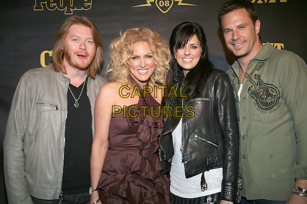 "PHILIP SWEET, KIMBERLY ROADS, KAREN FAIRCHILD & JIMI WESTBROOK - LITTLE BIG TOWN.CMT and ""PEOPLE"" Official 2008 CMT Music Awards After-Party held at City Hall, Nashville, Tennessee, USA..April 14th, 2008.half length grey gray jacket black green purple dress .CAP/ADM/RR.©Randi Radcliff/AdMedia/Capital Pictures."