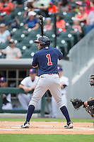 Jose Peraza (1) of the Gwinnett Braves at bat against the Charlotte Knights at BB&T BallPark on July 3, 2015 in Charlotte, North Carolina.  The Braves defeated the Knights 11-4 in game one of a day-night double header.  (Brian Westerholt/Four Seam Images)