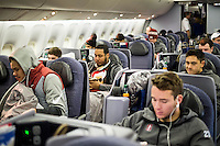 San Jose, CA - December 26, 2016: The Stanford Cardinal boards a United charter en route to the Sun Bowl in El Paso, Texas