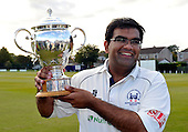 Cricket Scotland Scottish Cup - Uddingston CC V Dunfermline CC at Arbroath CC - Uddingston capt Ricky Bawa celebrates victory and retaining the Scottish Cup - Picture by Donald MacLeod - 20.08.11 - 07702 319 738 - www.donald-macleod.com
