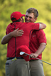 SUGAR GROVE, IL - MAY 29: Head Coach Chris Malloy congratulates Braden Thornberry of Ole Miss after his victory during the Division I Men's Golf Individual Championship held at Rich Harvest Farms on May 29, 2017 in Sugar Grove, Illinois. Thornberry won the individual national title with a -11 score. (Photo by Jamie Schwaberow/NCAA Photos via Getty Images)