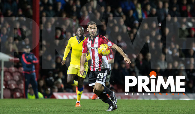 Akaki Gogia of Brentford in action during the Sky Bet Championship match between Brentford and Leeds United at Griffin Park, London, England on 26 January 2016. Photo by Andy Rowland / PRiME Media Images.