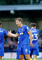 GOAL - AFC Wimbledon's Paul Robinson and Lyle Taylor celebrate the goal during the Carabao Cup match between AFC Wimbledon and Brentford at the Cherry Red Records Stadium, Kingston, England on 8 August 2017. Photo by Carlton Myrie.