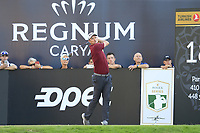 Justin Rose (ENG) tees off the 18th tee during Friday's Round 2 of the 2018 Turkish Airlines Open hosted by Regnum Carya Golf &amp; Spa Resort, Antalya, Turkey. 2nd November 2018.<br /> Picture: Eoin Clarke | Golffile<br /> <br /> <br /> All photos usage must carry mandatory copyright credit (&copy; Golffile | Eoin Clarke)