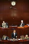 Nevada Lt. Gov. Mark Hutchison, left rear, and Assembly Speaker John Hambrick, R-Las Vegas, right rear, listen as U.S. Sen. Dean Heller delivers his address at the Legislative Building in Carson City, Nev., on Monday, April 6, 2015. <br /> Photo by Cathleen Allison