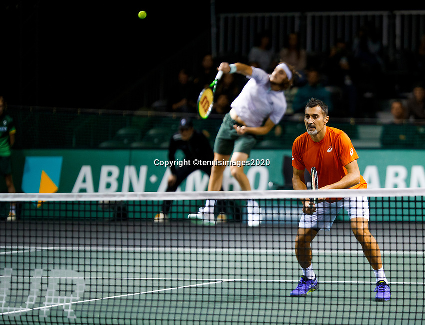 Rotterdam, The Netherlands, 10 Februari 2020, ABNAMRO World Tennis Tournament, Ahoy, Doubles: Jean-Julien Rojer (NED) and Horia Tecau (ROU), Stefanos Tsitsipas (GRE) and Nenad Zimonjic (SRB).<br /> Photo: www.tennisimages.com