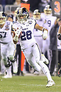 Philadelphia, PA - December 8, 2018:  Navy Midshipmen tight end Keoni-Kordell Makekau (28) runs the ball during the 119th game between Army vs Navy at Lincoln Financial Field in Philadelphia, PA. (Photo by Elliott Brown/Media Images International)