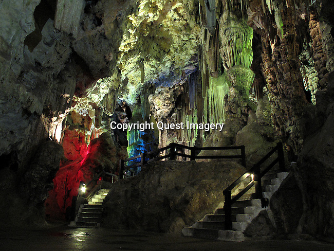 St Michael's Cave is the name given to a network of limestone caves located in the Upper Rock Nature Reserve of Gibraltar, at a height of over 300 metres above sea level.  According to Alonso Hern&aacute;ndez del Portillo, the first historian of Gibraltar, its name is derived from a similar grotto in Monte Gargano near the Sanctuary of Monte Sant'Angelo in Apulia, Italy, where the archangel Michael is said to have appeared.<br />