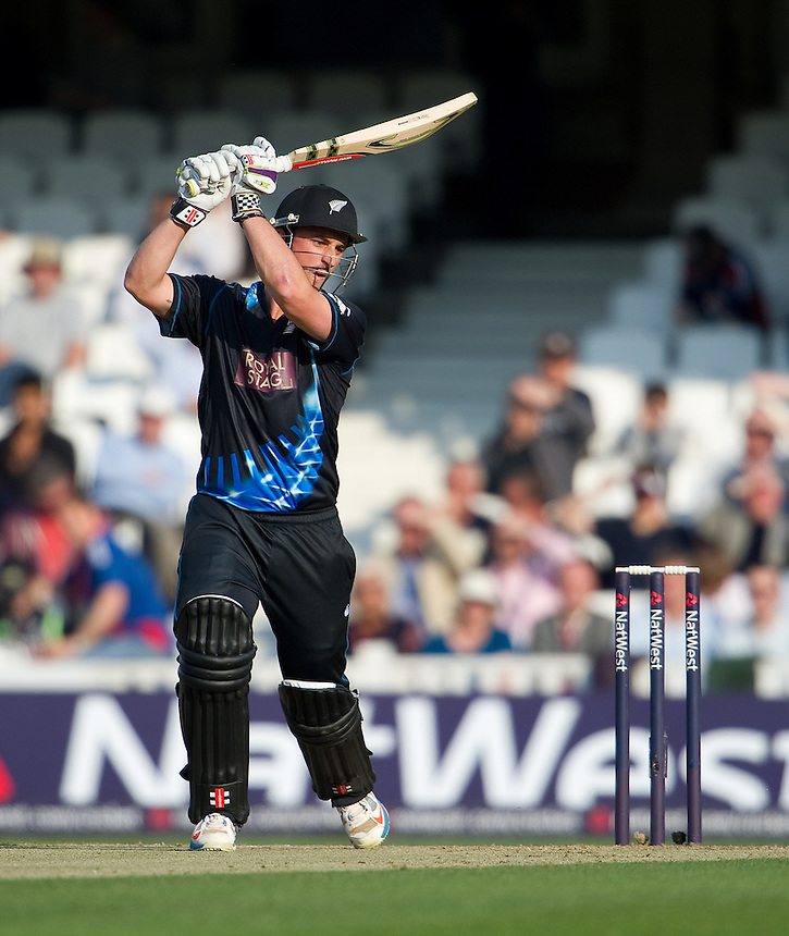 New Zealand opener and man of the match Hamish Rutherford hits 62 off 35 balls to get his team off to a flyer at the Oval in the T20 against England<br /> <br /> <br />  (Photo by Ashley Western/CameraSport) <br /> <br /> International Cricket - NatWest International T20 Series - England v New  Zealand - Tuesday 25th June 2013 - The Kia Oval, London <br /> <br />  &copy; CameraSport - 43 Linden Ave. Countesthorpe. Leicester. England. LE8 5PG - Tel: +44 (0) 116 277 4147 - admin@camerasport.com - www.camerasport.com