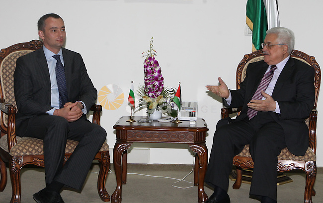Palestinian President Mahmoud Abbas during a meeting with Bulgarian Foreign Minister, Nikolai Mladenov at the Palestinian President headquarters in the West Bank city of Ramallah on June 30, 2010. Photo by Thaer Ganaim