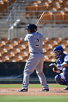 Surprise Saguaros third baseman Nate Orf (2) at bat during an Arizona Fall League game against the Glendale Desert Dogs on October 24, 2015 at Camelback Ranch in Glendale, Arizona.  Surprise defeated Glendale 18-3.  (Mike Janes/Four Seam Images)