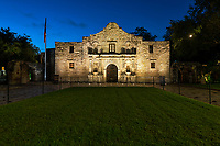 Texas Alamo at Twilight- The Texas Alamo before the sun came up in San Antonio. We got an early start because we knew how busy this place can be on any given day.  It was still dark with just a hint of light coming into the sky. For us this is the best time to capture the Alamo because it is one of the most popular tourist destination in the city and an almost impossible to capture without lots of torusit in front of it. The Alamo has a lot of signafince to Texas Independence and the countrys history so it is a treasured landmark.<br /> Note: To see more of our mission please go to our Texas Mission Gallery.