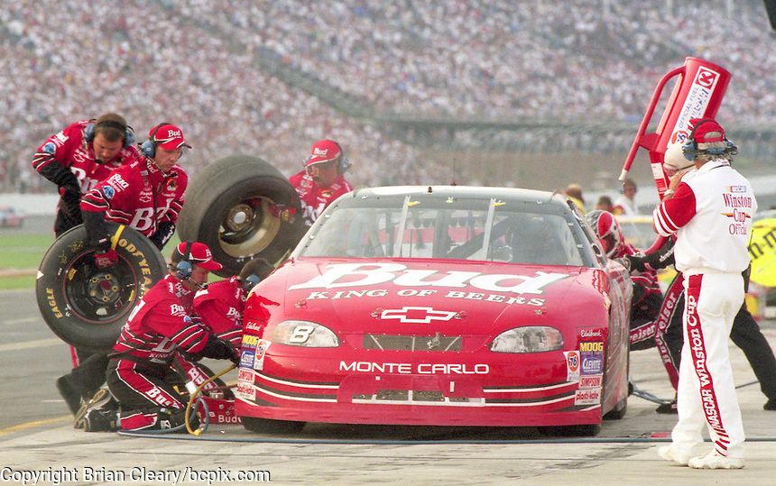 Dale Earnhardt Jr. makes a pit stop during his NASCAR Winston Cup debut  at the Coca Cola 600, Charlotte Motor Speedway, Charlotte, NC, May 1999.  (Photo by Brian Cleary/www.bcpix.com)